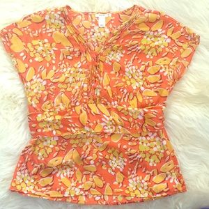 Old Navy Print Silk Blouse